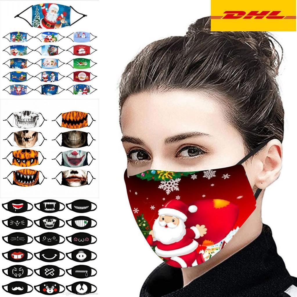 DHL Ship 2020 Designer Christmas Halloween Tissu Masque Visage PM2.5 Filtre Coton Adultes Enfants Fashion Hiver Lavable Fête Lavable Masque lumineux