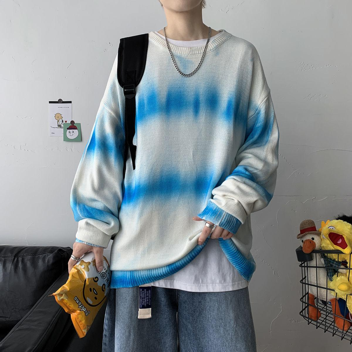 2021 Новый причина Privhinker мужская галстука краситель с длинным рукавом женщина полоса повседневная негабаритные пуловеры корейской улицы мужской свитер одежда Z57Y