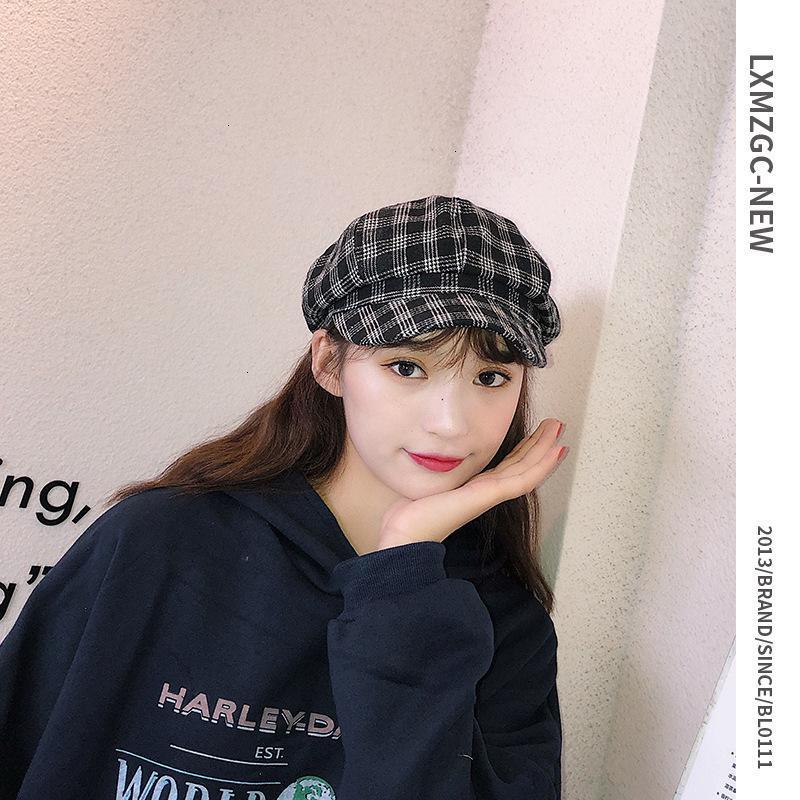 70% Rabatt auf den koreanischen Frauengitter vielseitiger Barett Herbst und Winter Neue Kappe Britischer feinkörniger achteckiger Hut