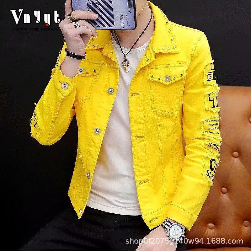 River New 2020 Giacca di jeans coreana adolescenti cotone giallo / nero / rosso / bianco cappotto studenti Uomini Hole abito giovanile Primavera Autunno