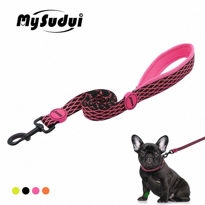 Rellenado suave del perro del correo del perro Correr correa de nylon ajustable Entrenamiento Para Perros Gatos Correas duraderos plomo raya Mysudui 2LYT #