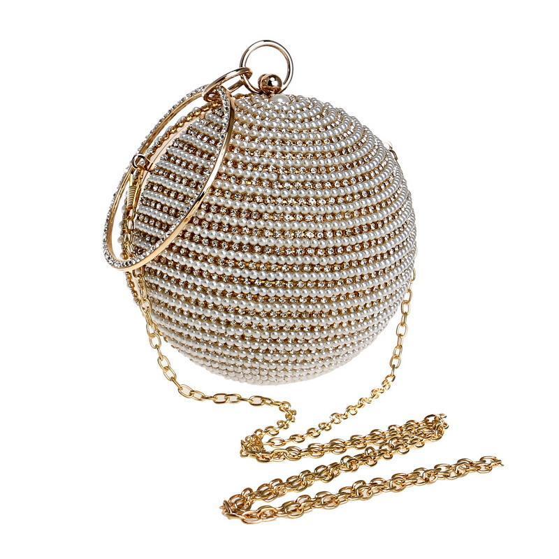 Akşam inci kadınlar için akşam çanta topu şekli çanta kristal parlayan çanta elmas çivili debriyaj boncuklu moda elbise lady Kmeew