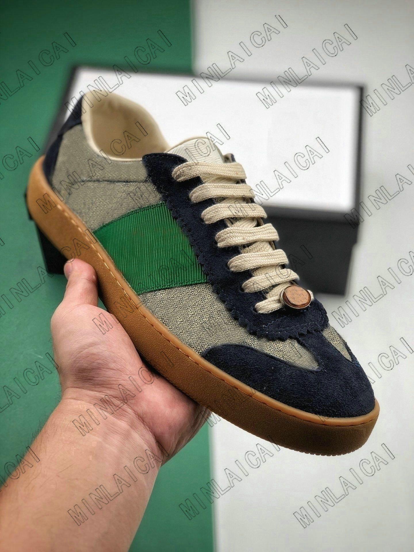 Herren bestickte Distressed Leder Screener Ass grün rote Streifen Italien Sneakers Luxurys Designer Trainer Lace Up Low Cut Man Casual Schuhe
