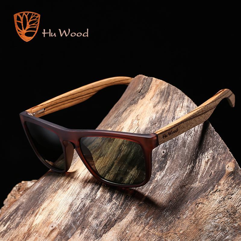 Hu bambú natural para los hombres cebra de madera Sun gafas polarizadas gafas de sol de las lentes del rectángulo de conducción Uv400 Gr8002
