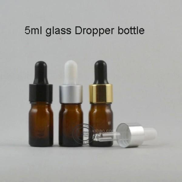 50 / lot 5ML Brown Glas Tropfflasche, 5 ml Serum Vial, 5ml kosmetisches Verpacken, Sample.Darstellung Container
