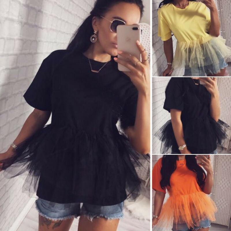 Kadınlar Tül Patchwork Kısa Kollu Mesh Tee 2020 Yeni Yaz Bayanlar Ekip Boyun Parti Gevşek Casual Tişörtlü Clubwear Tees Tops