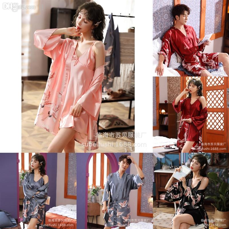 L8VU Women Pajamas Silk Flower Lingerie Sexy Lovers Bridesmaid Sexy Female Robe SetBathrobe Kimono Bath Gown Ice Silk Casual Flower Ebqgw