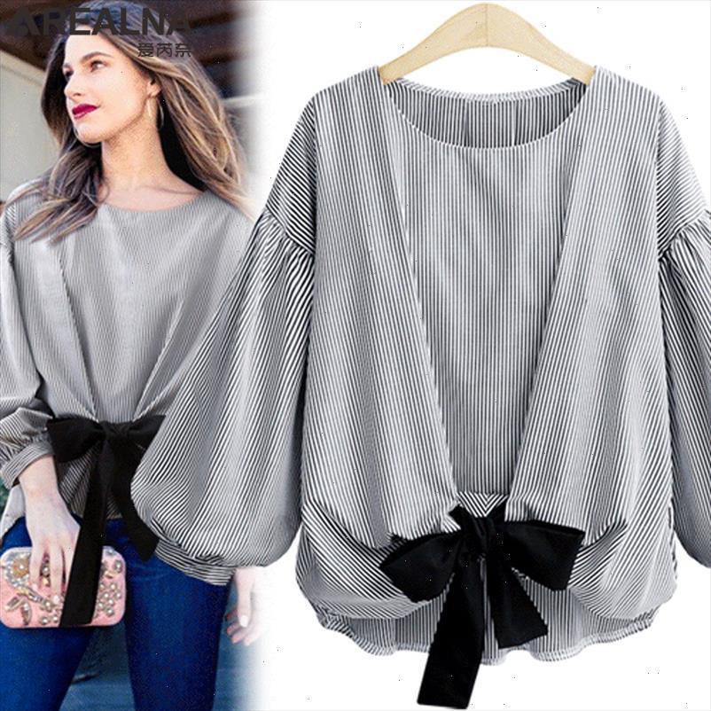 Arealna automne Vintage Mode rayé arc chemisier chemisier Femme lanterne Sleeve Shirt Femmes Tops Camisas Mujer Plus Taille XL 5XL