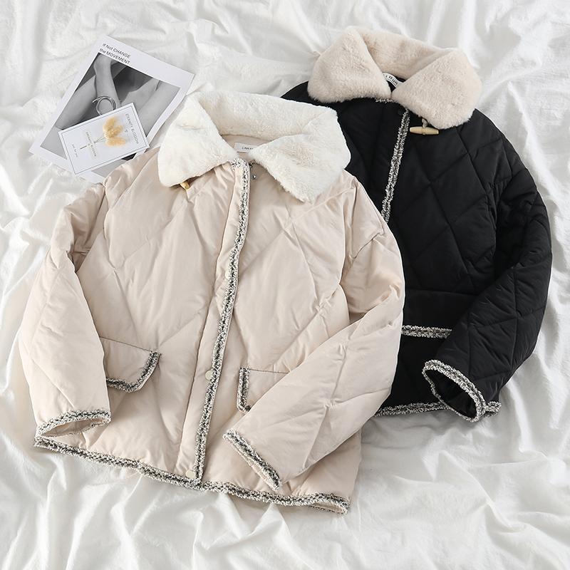 Women's Jackets Retro Rhombus Stitching Fur Collar Age-Reducing Jakets Coat Women Winter Korean Style Thickened Woven Frayed