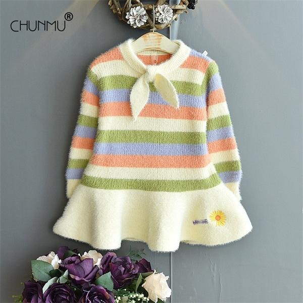 Children Clothing New Kids Knitted Dresses for Girls Autumn Winter Striped Rainbow Carrot Girl Princess Party Dress 1-6T Vestido C1031