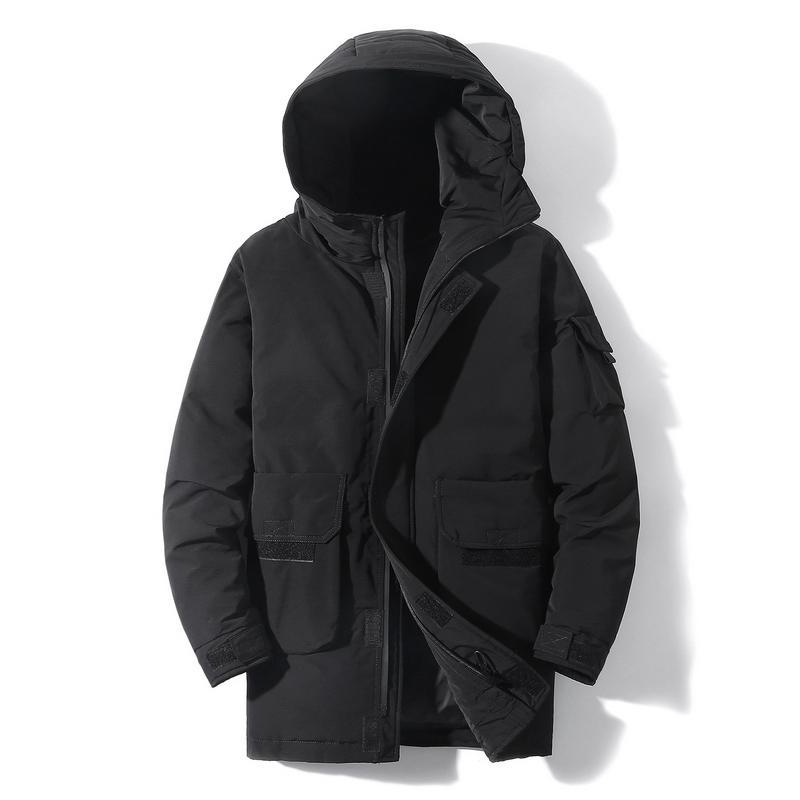 Men's Winter Fleece Down Jaqueta Curto 2020 Nova Tendência Bonito Pescoço Redondo Thicke Moda Casaco Masculino Down Black Jacket para Homens