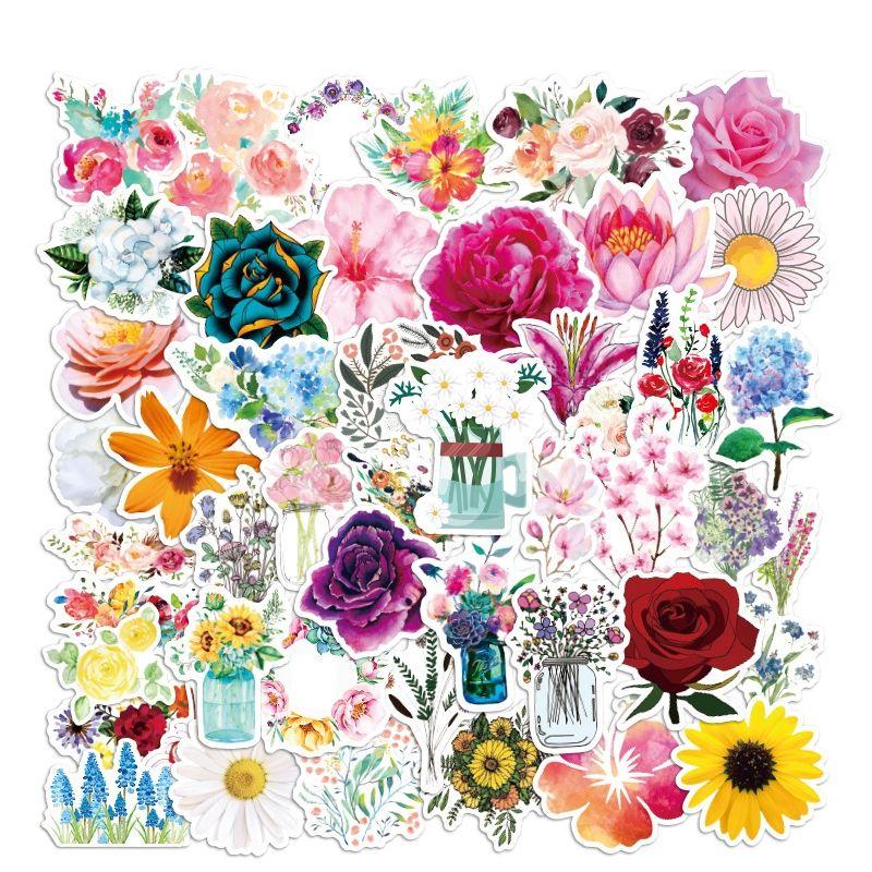Paquete de 50 unids Venta al por mayor Flores hermosas Plantas Pegatinas Impermeable No-duplicado Etiqueta Para Notebook Skateboard Bottle Car Etiquetas De Coche