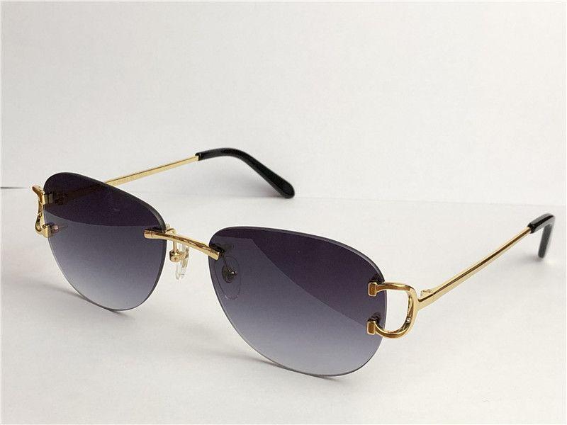 판매 도매 야외 패션 선글라스 0102 Frameless 라운드 프레임 레트로 아방가르드 디자인 UV400 라이트 컬러 장식 아이웨어