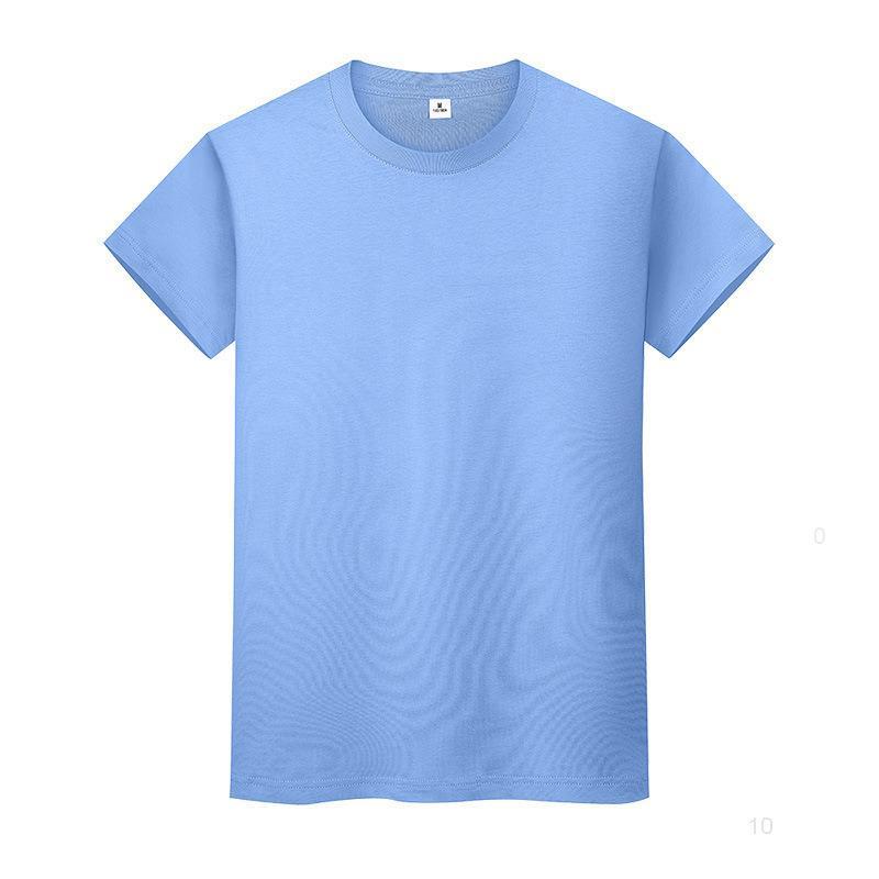 Yeni Yuvarlak Boyun Katı Renk T-Shirt Yaz Pamuk Dibe Gömlek Kısa Kollu Erkek ve Bayan Yarım Kollu B8i9ii