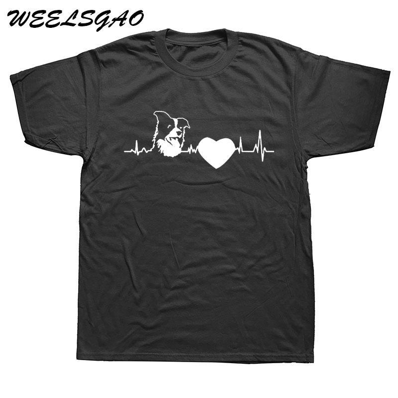 spor Border Collie Gut Yetişkin T Gömlek Erkekler Rasgele Pamuk Kısa Kollu Komik Tişört Mans Tişört