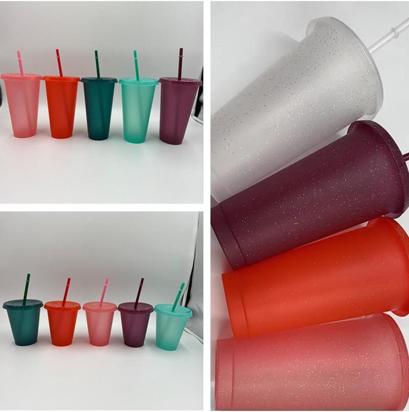 Coupe en plastique Glitter 17ozoz Twinkling Scriture des gobelets à boire avec une paille d'été réutilisable boissons froides tasse belle tasse de bière café