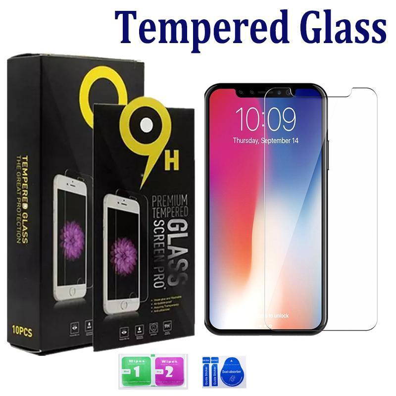 Vidrio templado para iPhone 12 11 Pro MAX XS MAX XR 8 7 PLUS SAMSUNG A20 A51 A21 A1S Pantalla A11 0.33mm 2.5D 9H con paquete de papel DHL