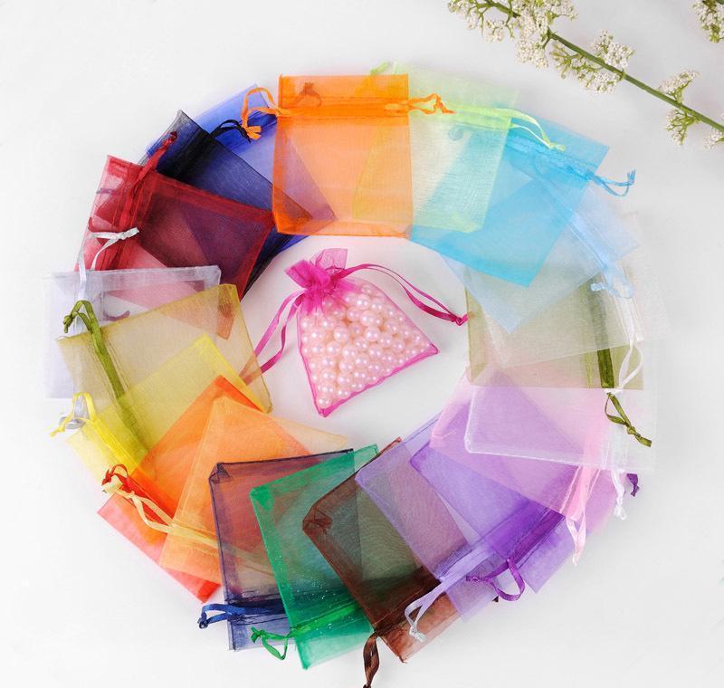 100pcs / lot 7x9cm Bags Bags Bijoux Sacs d'emballage de mariage Sac cadeau de mariage Cordon de cordon de bijoux Pochette Jllrvvj Sinabag