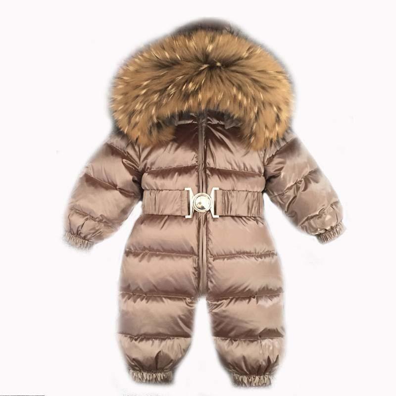 Winter warm Daunen Baby Jungen-Overalls mit Kapuze Echt Pelz Mädchen Strampler Langarm Unisex Onesie Overalls Kleinkind Schneeuit 201105