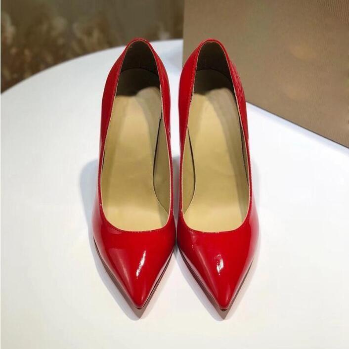 Роскошный высокий каблук женские кожаные одежды дизайнерские черные туфли на каблуках женские женщины свадебные вечеринки одеваются обувь с коробкой
