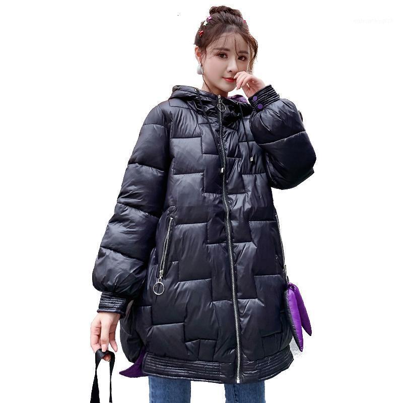 2019 winter lose mäntel warme gesteppte jacke frauen oberbekleidung mit kapuze weibliche langen mantel schnee tragen große größen baumwolle gepolsterte korea1