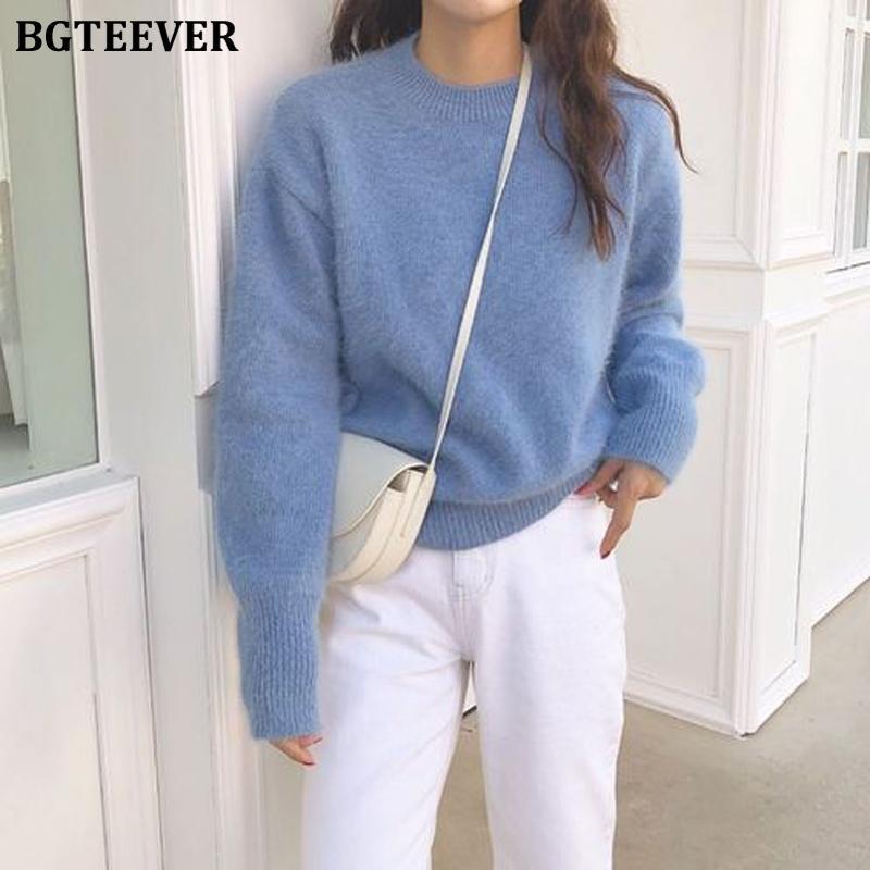 BGTeever Inverno Casual All-Match Warm O-pescoço Mulheres Sweater de mangas compridas Feminino jumpers de malha pulseira Pullover Sweater Tops Y200720