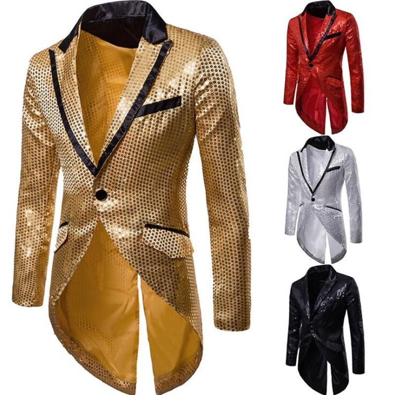 2021 Uomini autunno inverno Blazer Paillettes Paillettes Tail Blazer Giacca Gothic Club Giacche Stage-Dressing Black-Red Gold Singer 1C2V