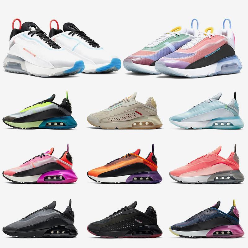 Top Hommes 2090 Chaussures de course Femmes Tous coussin d'air Bleu Mesh Daily marche Chaussures de sport confortable 2090S formateurs Taille 36-45