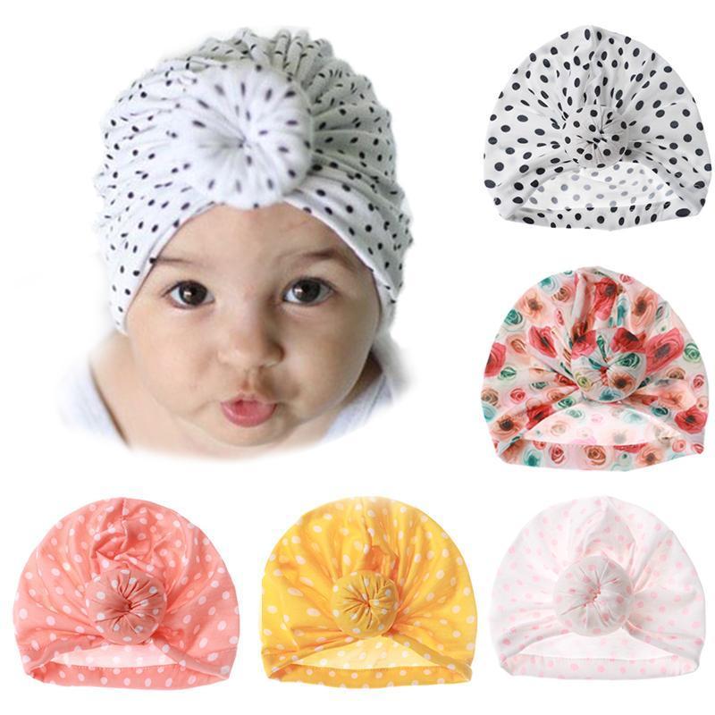 Hair Accessories Cute Flower Dot Print Born Hat Beanie Knot Infant Toddler Baby Cap Autumn Winter Soft Girls Bonnet