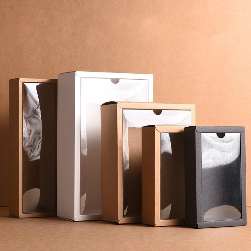 10 stücke rot / weiß / schwarz / kraft papierbox mit klaren pvc deckel handgemachte seife verpackungskästen verschiedene größen geschenk verpackung box1