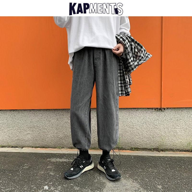 Kapitel Männer Vintage Cargo Jeans Hosen 2020 Denim Hosen Herren gedruckt Streetwear Jeans Hip Hop Hosen Mann Schwarz Baggy 3XL