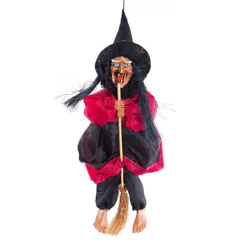 Halloween Hanging Witch Dolls Voice Control Prop Animated Ghost Scary Riding Broom Wall Hang Party Outdoor Home Decoration Toys