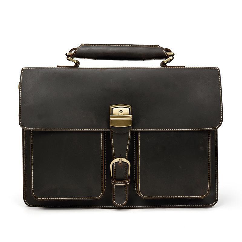 Pasta de couro masculina bolsa dos homens louco couro couro duplo compartimento 15 polegadas bolsa de computador bolsa de ombro bolsa de mensageiro