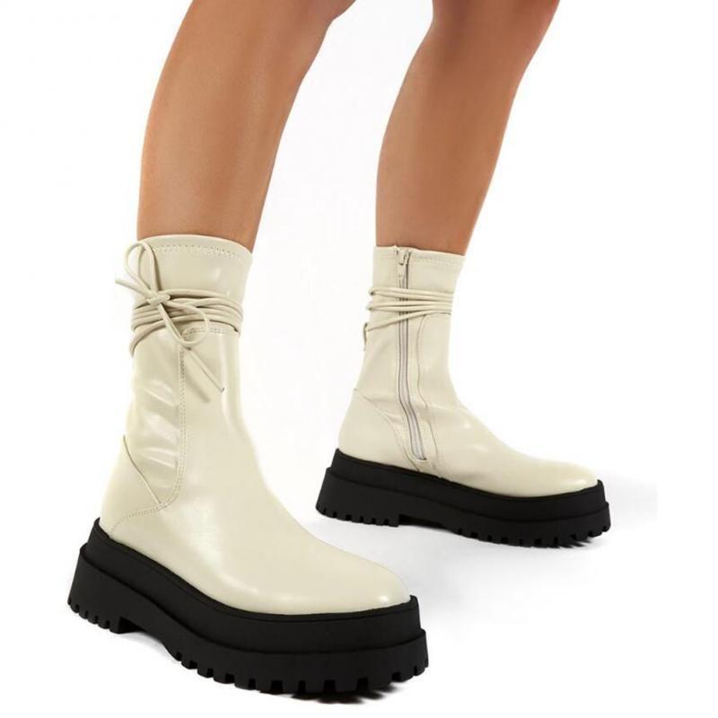 2021 Осенние Женщины Boots Boots Женская ПУ Кожаные Платформы Ботинки Панк Ретро Мотоцикл Мотоцикл Дамы Мода Наружные Обувь
