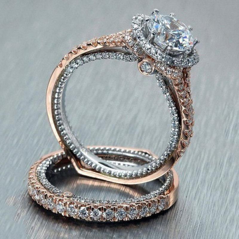 Grenzüberschreitende E-Commerce-heißen Verkauf neue Roségold runde Diamanten Farbtrennung Ring Paare Ring direkt ab Werk Großhandel