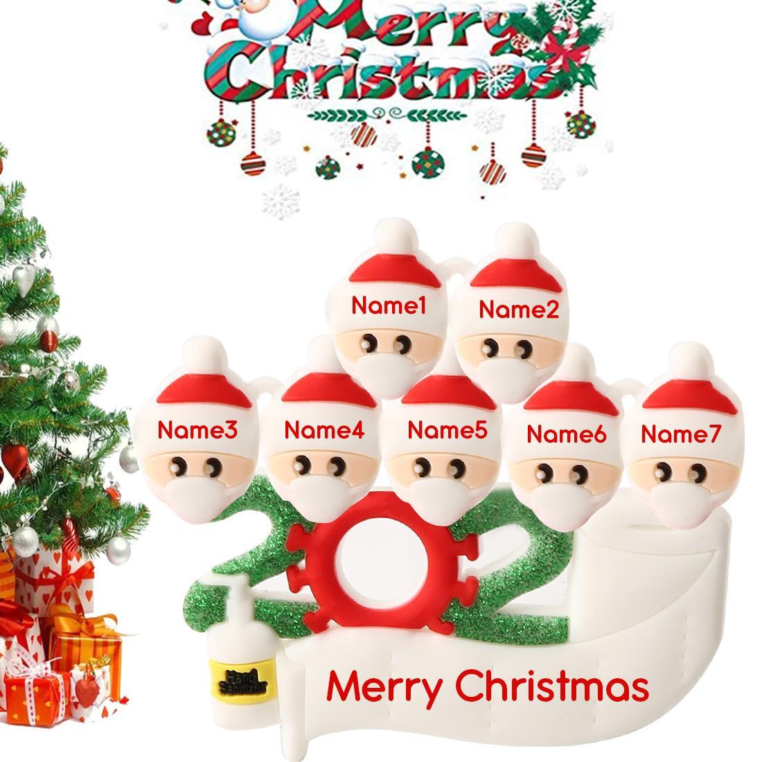 PVC 2020 DIY Adı Blessing Noel Süsleri Noel Süs Aile Hediyeler kolye Reçine Asma Kardan Adam Santa Noel Ağacı Maske YL0046