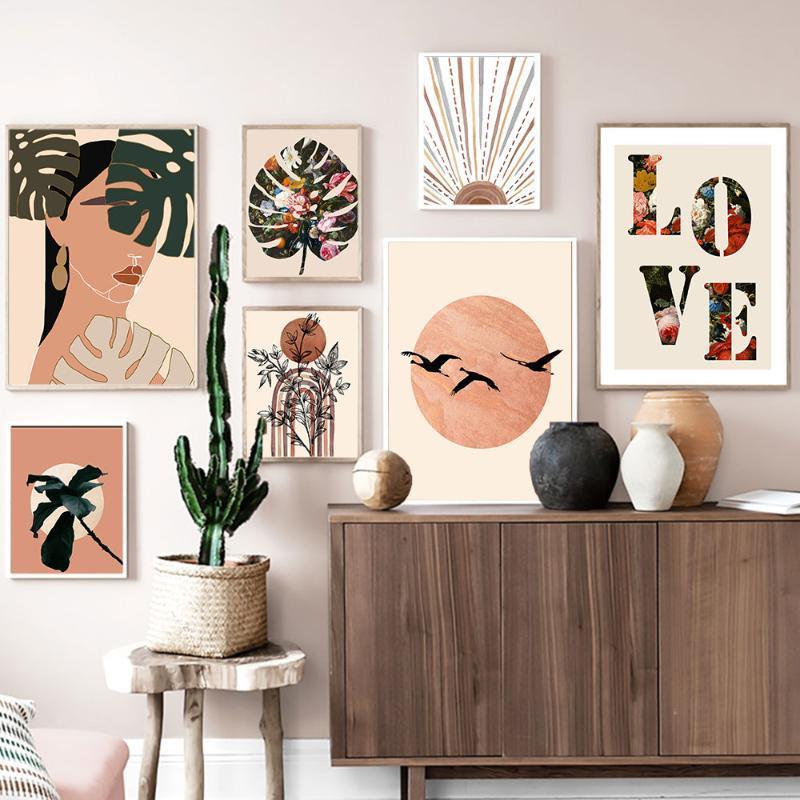 Bobo di stile di paesaggio della tela Vintage Pittura Astratto fiori e foglie poster Amore Citazione Stampa della parete di arte della decorazione della casa Immagine