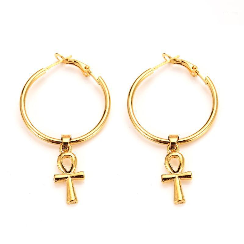 Klassische Ankh-Ohrringe Gold Farbe Ägypter Kreuz Schmuck Frauen Ägypten Hieroglyphen Crux Ansata Hochzeit Braut Party Ohrringe Geschenke1