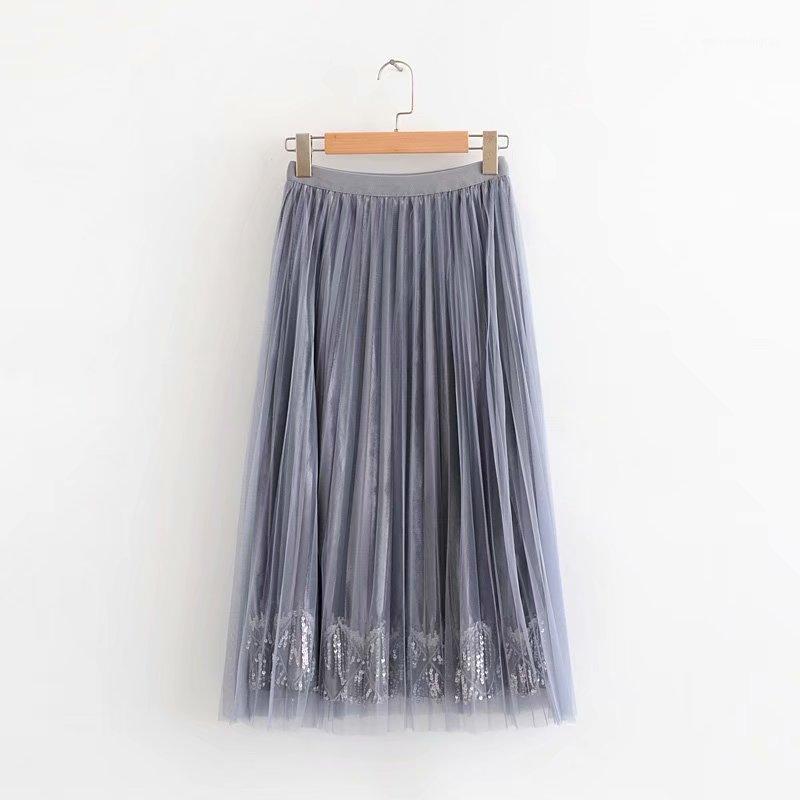 Chic Women Pleated Falda Otoño 2019 Nueva Moda Malla de lentejuelas Cintura Elástica Moderna Dama Mid-Calf Faldas 1