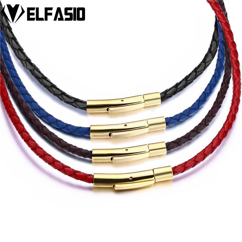 سلاسل 3 ملليمتر رجل إمرأة أسود / أحمر / أزرق / بني مضفر جلد طبيعي الحبل الفولاذ الصلب قفل آمن قلادة سلسلة الجملة مجوهرات 1