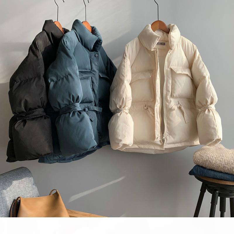 Ragazza abbigliamento casual corto cappotto in cotone manica lunga a maniche lunghe peluche puffy inverno parka donne spessa stand collare bianco giacca di parka