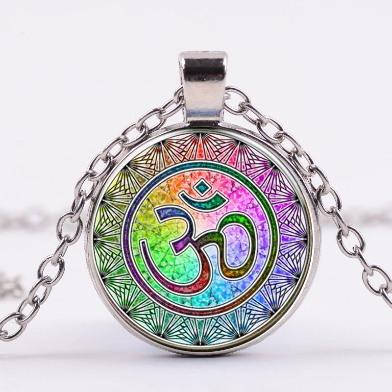 Dischen Sanskrit OM-Symbol Halskette Ohm OM Aum Buddha Lotus-Silber überzogene Blume des Lebens Mandala-Kunst-Glas-Kette Schmuck