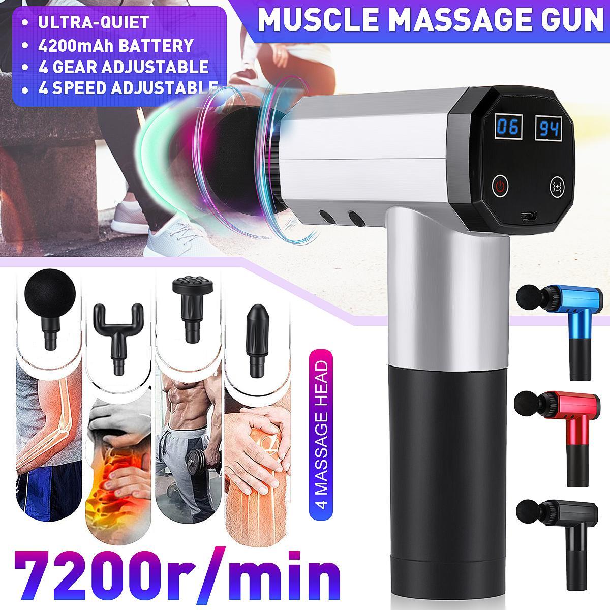 7200r / min Faszie Pistole w / 4 mute Touchscreen-Taste elektrische Massagetherapie Membran Kette tiefe Wirkung Entspannungsschwingungs masseur
