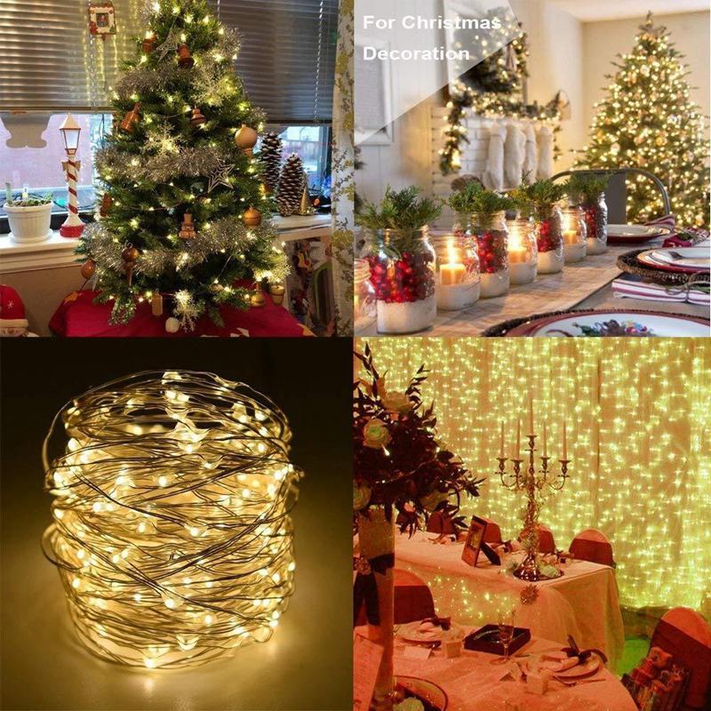5 / 20m LED-Schnur-Licht Kupferdraht Fairy Rekreationsbeleuchtung Garland Startseite Weihnachten Hochzeit Dekoration Angetrieben durch Batterie USB