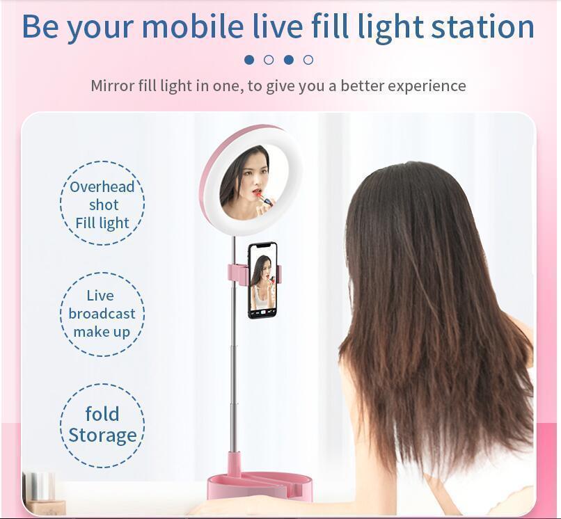 Supporto Fotografia G3 Luce pieghevole anello integrato di riempimento Luce al telefono in diretta ha condotto la macchina fotografica selfie della lampada della luce del treppiedi
