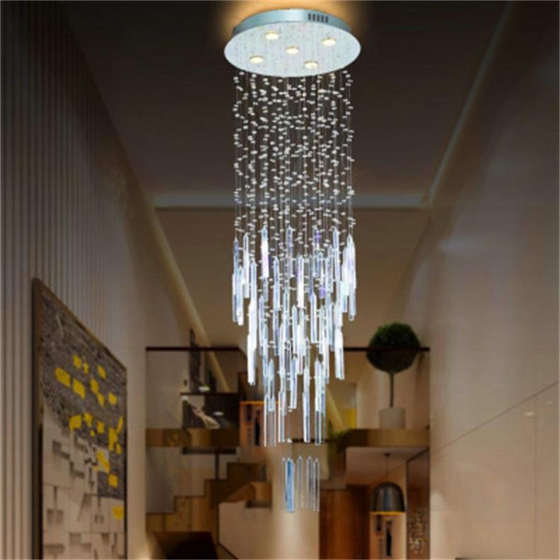 Principali moderne filo appeso lampadario di cristallo ville duplex delle scale soffitto corridoio lampada lampadario di cristallo di personalità rotondo lampade lungo sospensione