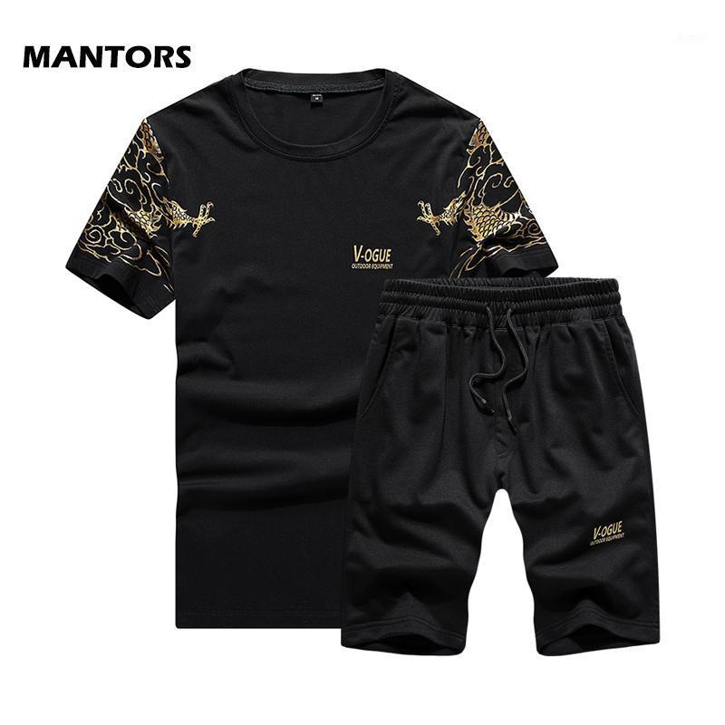 2020 Summer Mens Tacksuit hombres conjuntos de moda Impresión de moda Sportswear T-shirt + Shorts Brand Track Trajes de pista Ropa de jogging Casual 2 PCS Set1