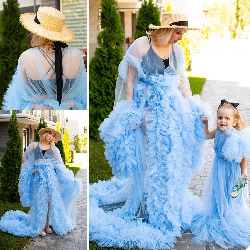 Chic Sky Blue Tiered Ruffles Mujeres Invierno Sexy Kimono Partido Partido Partido Proselera Albornoz Sheer Nightgown Ducha Robe para la foto