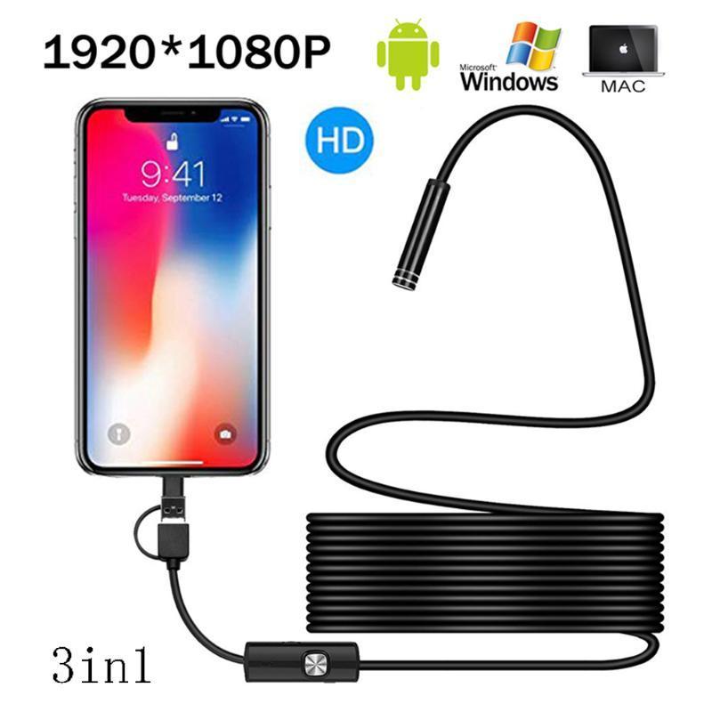 Caméras 1080P Caméra HD Caméra USB Android Endoscope imperméable IP67 Tube Inspection Câble de serpent 8mm Lens Borescope 8 LED LEDS