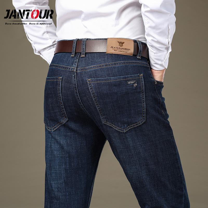 2021 Jantour Autumn Winter Jeans For Men 2020 Pantalones De Hombre Business Casual Dark Blue Jeans Thicken Straight Size 28 38 From Bigchange 22 71 Dhgate Com